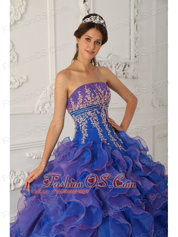 Pretty Royal Blue and Purple Quinceanera Dress Strapless Organza ...