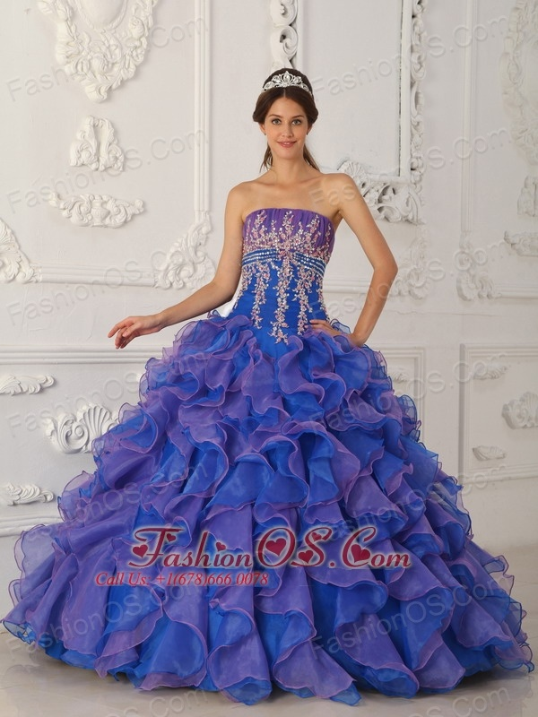 69c6ef9362a Pretty Royal Blue and Purple Quinceanera Dress Strapless Organza Beading  and Appliques Ball Gown