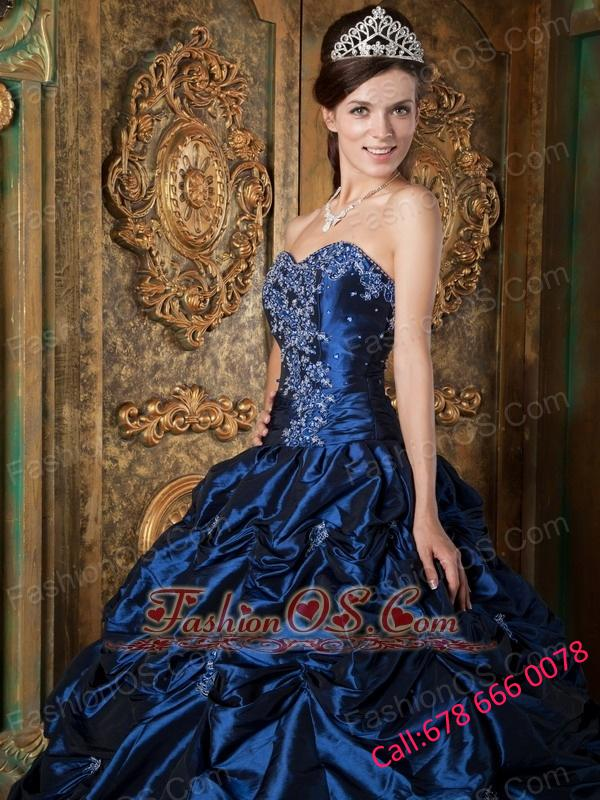 Pretty Navy Blue Quinceanera Dress Sweetheart Picks-up Taffeta Ball Gown