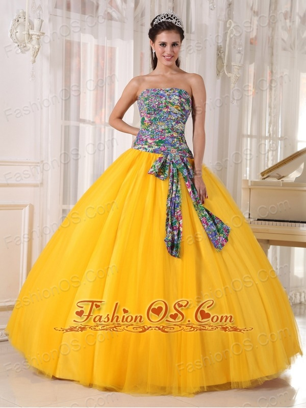 Pretty Golden Yellow Quinceanera Dress Strapless Tulle and Printing ...