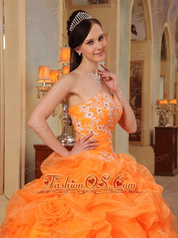 Romantic Light Orange Quinceanera Dress Sweetheart Taffeta and Organza Appliques Ball Gown