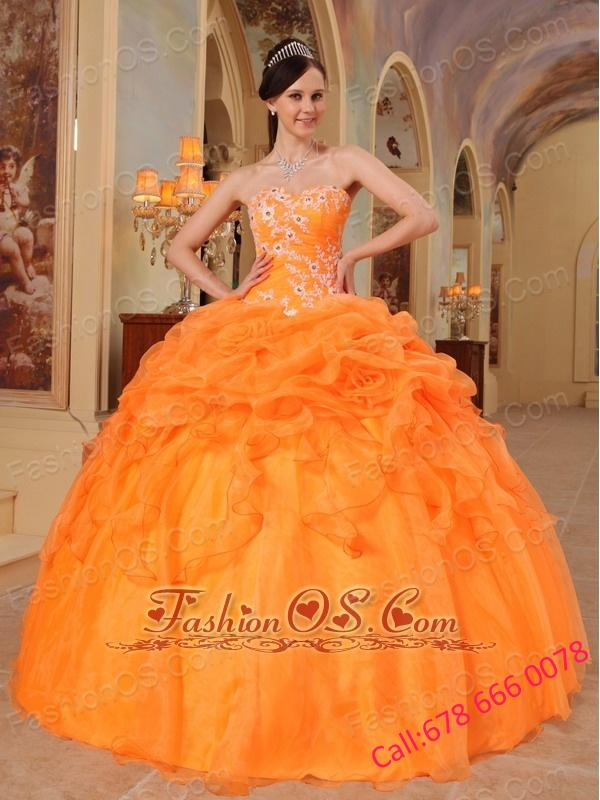 romantic light orange quinceanera dress sweetheart taffeta