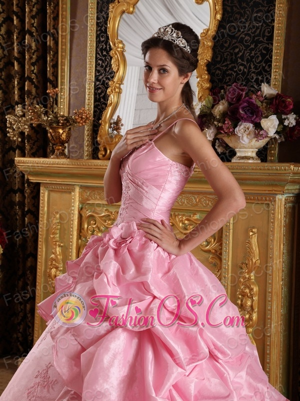 Simple Pink Quinceanera Dress Straps Taffeta Beading and Appliques Ball Gown