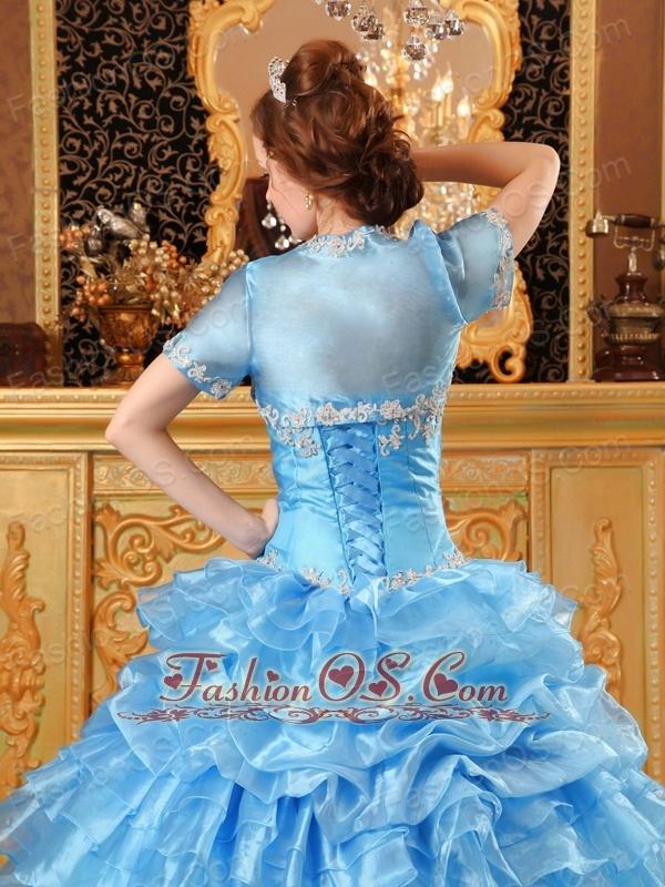 Sweet Aqua Blue Quinceanera Dress Sweetheart Organza Appliques Ball Gown