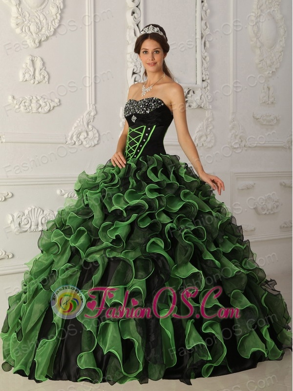 Sweet Green Quinceanera Dress Sweetheart Organza Beading Ball Gown