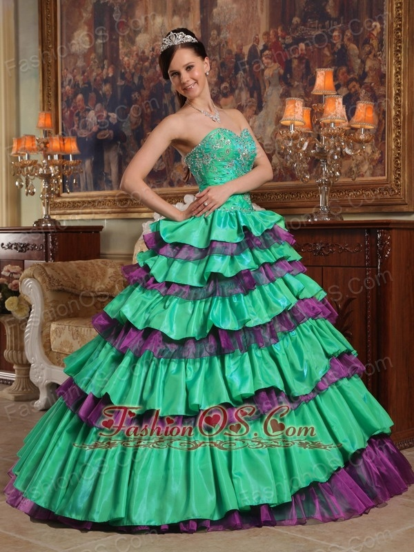 Sweet Green Quinceanera Dress Sweetheart Taffeta and Organza Beading Ball Gown