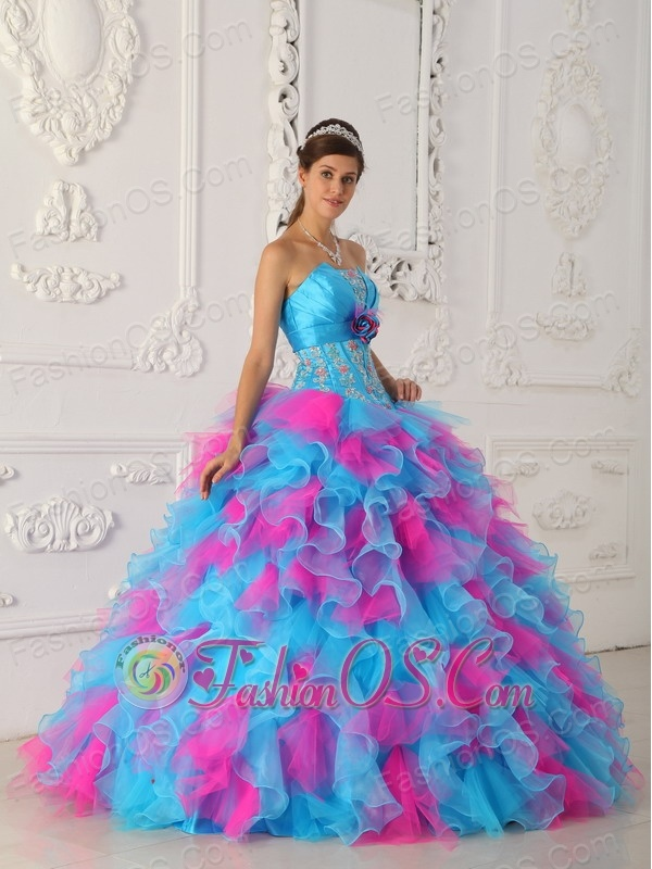 Sweet Multi-color Quinceanera Dress Strapless Organza Appliques and Hand Flower Ball Gown