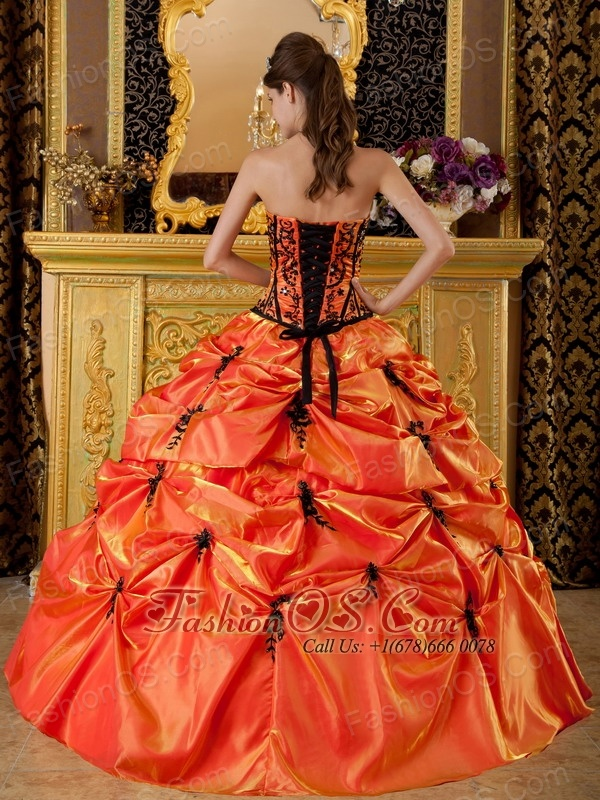 Sweet Orange Quinceanera Dress Strapless Embroidery Taffeta Ball Gown