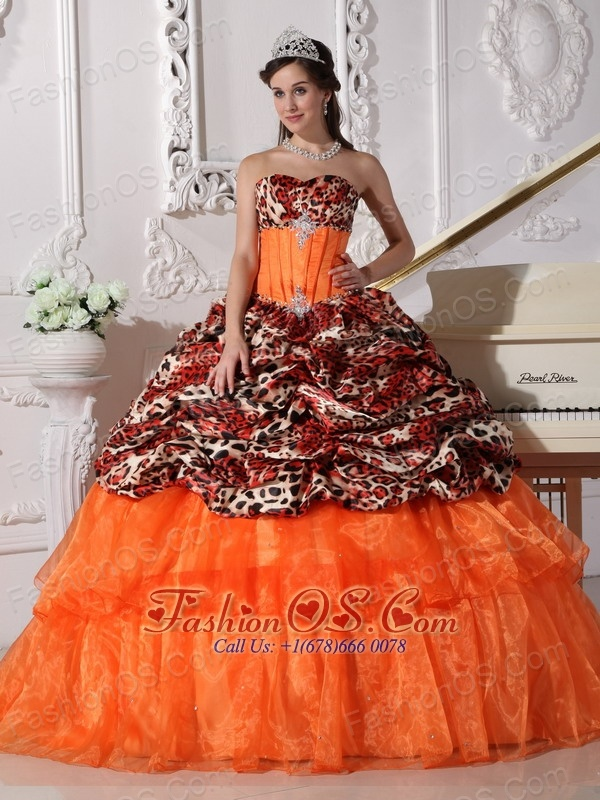 6bcba68a1d ... Sweetheart Sweep   Brush Train Leopard and Organza Appliques Ball Gown  ...