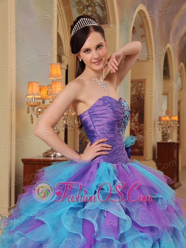 The Most Popular Purple and Aqua Blue Quinceanera Dress Sweetheart Ruffles Organza Ball Gown