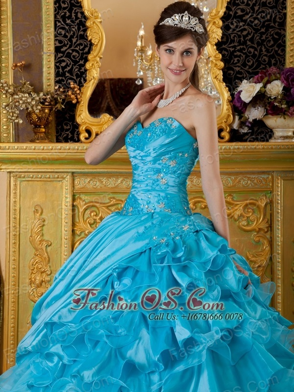The Most Popular Teal Quinceanera Dress  Sweetheart Taffeta and Organza Appliques Ball Gown