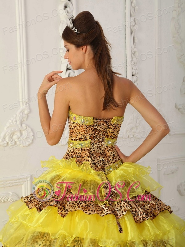 f78cb91358 ... The Most Popular Yellow Quinceanera Dress Strapless Sweep  Brush Train  Leopard and Organza Ruffles A