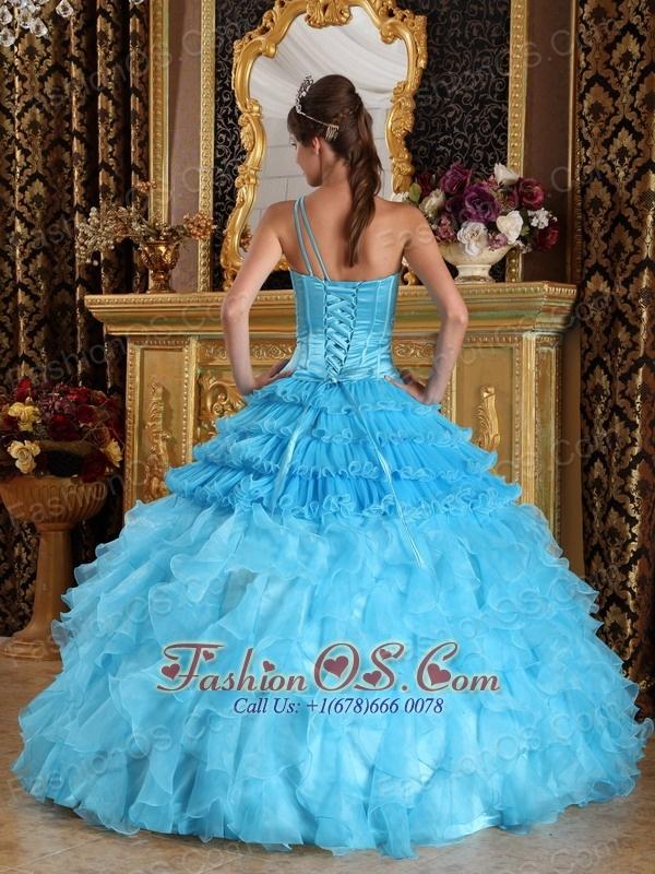 Wonderful Aqua Blue Quinceanera Dress One Shoulder Satin and Organza Beading Ball Gown