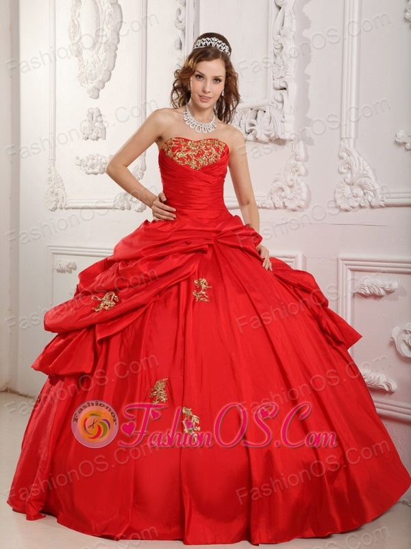 Wonderful Red Quinceanera Dress Sweetheart  Taffeta Appliques Ball Gown