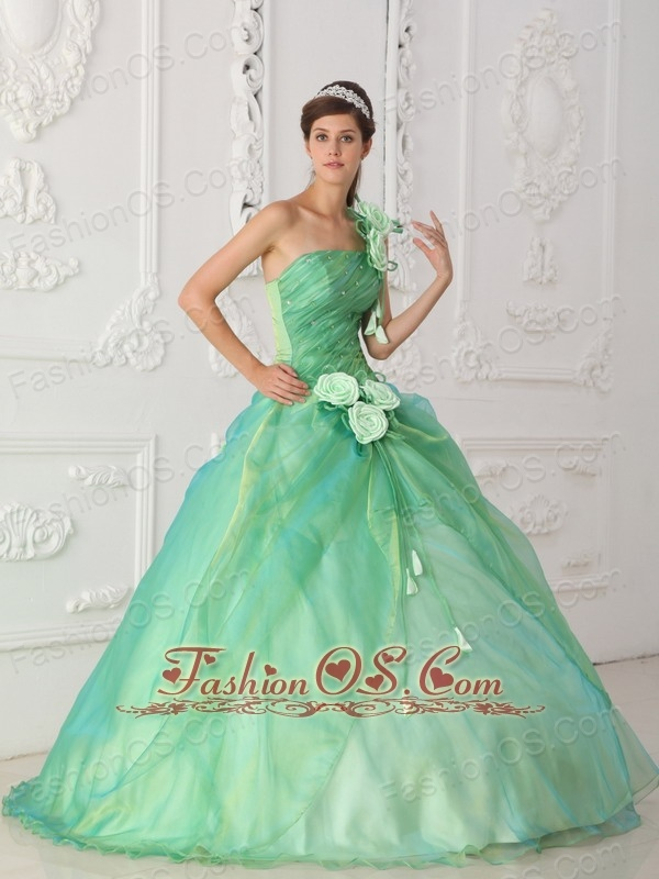 Affordable Apple Green Sweet 16 Dress One Shoulder Organza Beading and Hand Flower Ball Gown