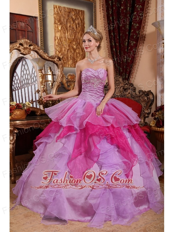 Affordable Lavender and Hot Pink Quinceanera Dress Sweetheart Organza Beading Ball Gown