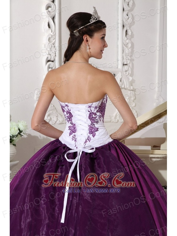 Affordable White and Dark Purple Quinceanera Dress Sweetheart ...