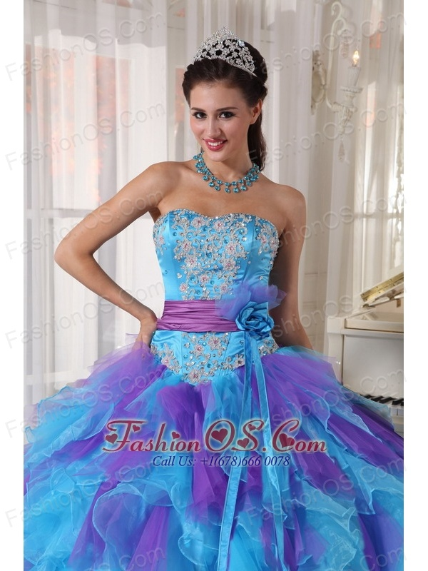 Baby Blue and Purple Quinceanera Dress Strapless  Organza Appliques Ball Gown