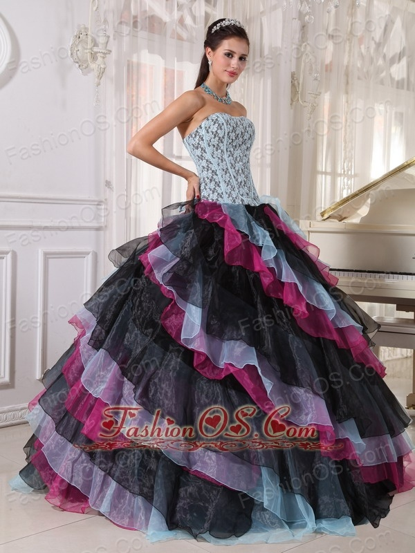 Beautiful Multi-color Quinceanera Dress Strapless Organza Appliques With Beading Ball Gown