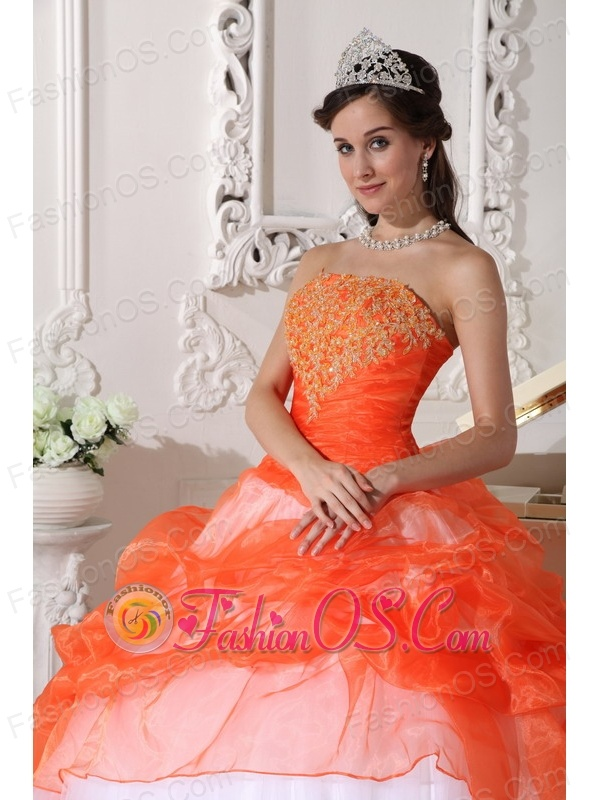 Beautiful Orange and White Quinceanera Dress StraplessTaffeta and Organza Appliques Ball Gown