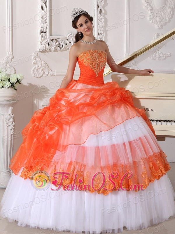 Beautiful Orange and White Quinceanera Dress StraplessTaffeta and ...