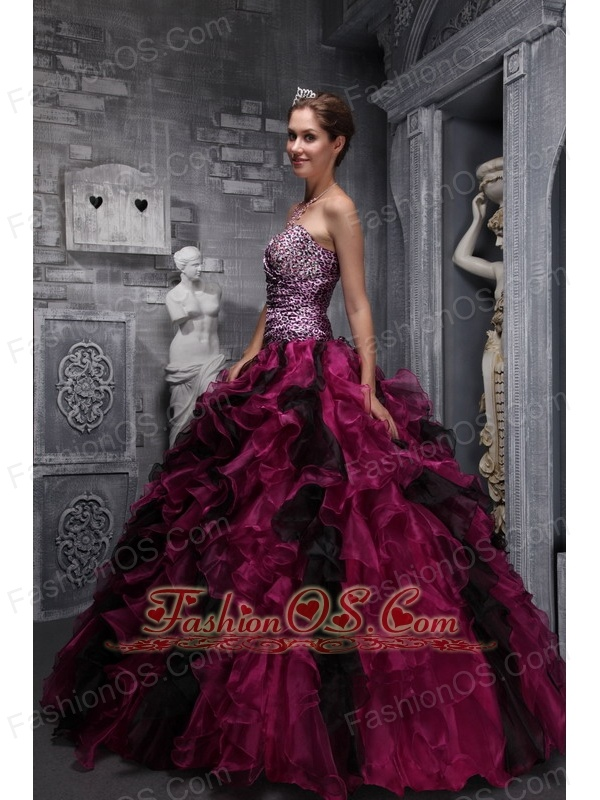 Best Fuchsia and Black Quinceanera Dress Leopard Print and Ruffles ...