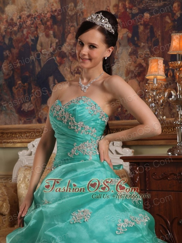 Brand New Turquoise Quinceanera Dress Sweetheart  Appliques Organza Ball Gown
