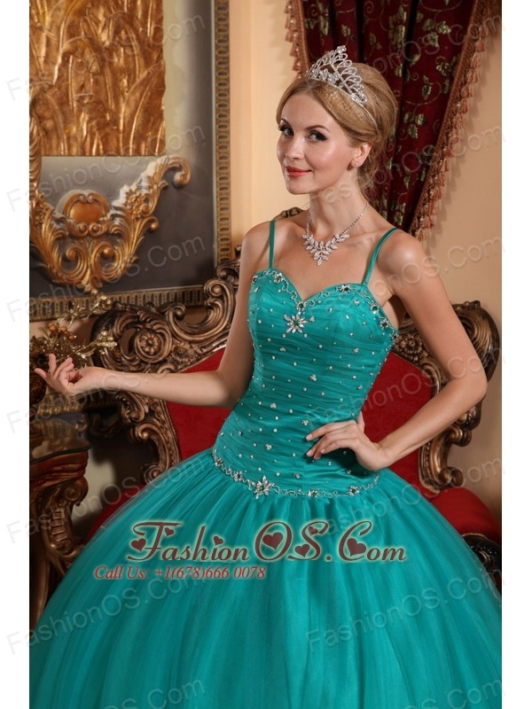 Brand New Teal Quinceanera Dress Spaghetti Straps Tulle Beading Ball Gown