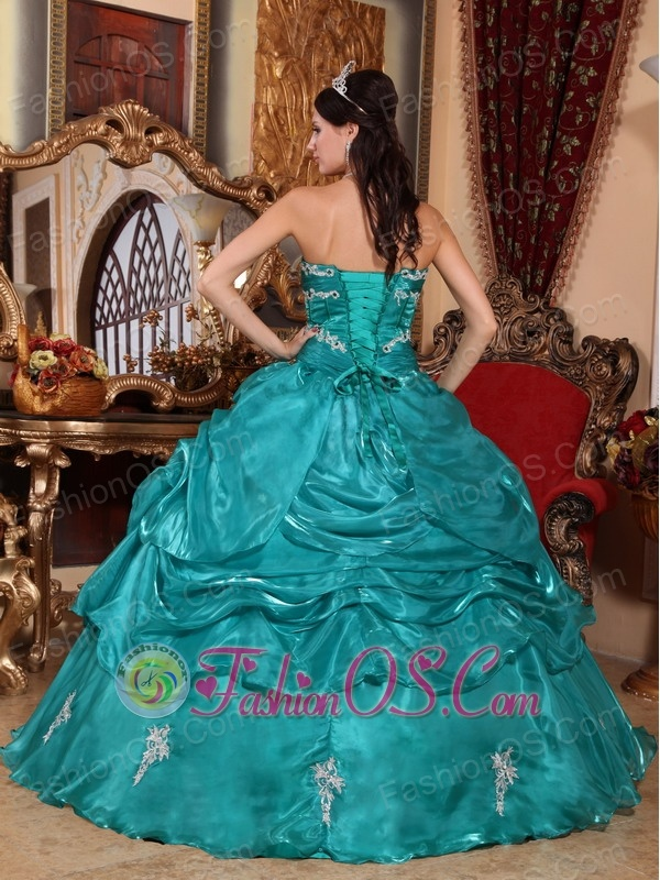 Brand New Turquoise Quinceanera Dress Strapless Organza Appliques Ball Gown