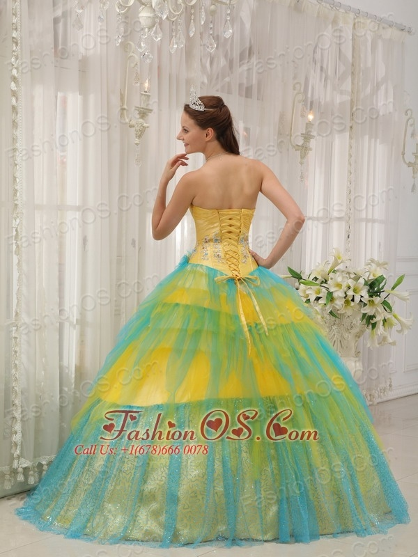 Brand New Yellow and Blue Quinceanera Dress Strapless Tulle Beading and Ruch Ball Gown