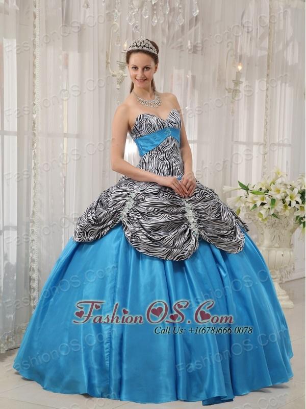 Cheap Aqua Blue Quinceanera Dress Sweetheart Taffeta and Zebra or Leopard Ruffles Ball Gown