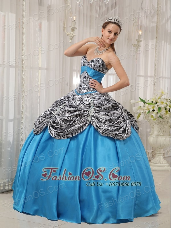 Cheap Aqua Blue Quinceanera Dress Sweetheart Taffeta and Zebra or Leopard Ruffles Ball Gown