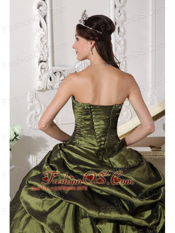 Cheap Olive Green Quinceanera Dress Strapless Taffeta Beading Ball Gown