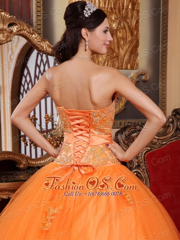 Classical Orange Quinceanera Dress Sweetheart Tulle Appliques Ball Gown