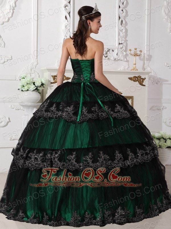 Dark Green Quinceanera Dress Strapless Taffeta and Tulle Appliques Ball Gown