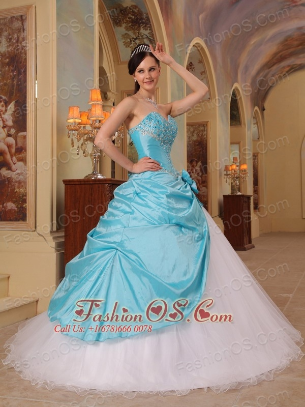 Discount Aqua Blue and White Sweet 16 Dress Sweetheart Beading Tulle and Taffeta A-Line / Princess