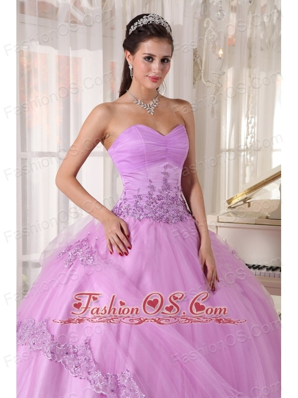 Discount Lavender Quinceanera Dress Sweetheart Taffeta and Tulle Appliques Ball Gown