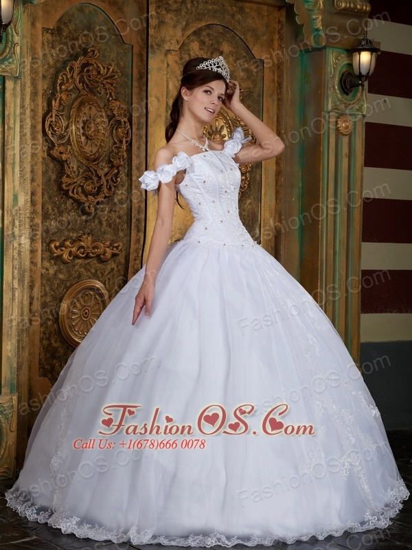 Discount White Sweet 16 Dress Off The Shoulder Organza Appliques Ball Gown