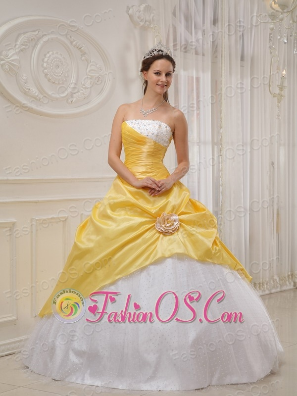 Discount Yellow and White Sweet 16 Dress Strapless Taffeta and Tulle Beading Ball Gown