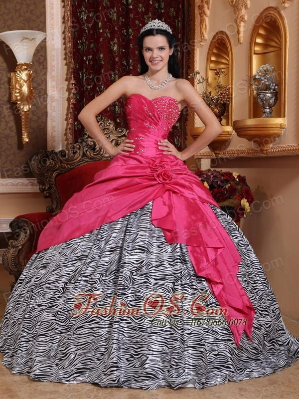 Hot Pink Sweet 16 Dress Sweetheart Taffeta And Zebra Beading Ball Gown