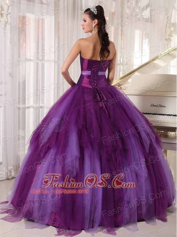 Elegant Purple Quinceanera Dress Strapless Tulle Beading  Ball Gown