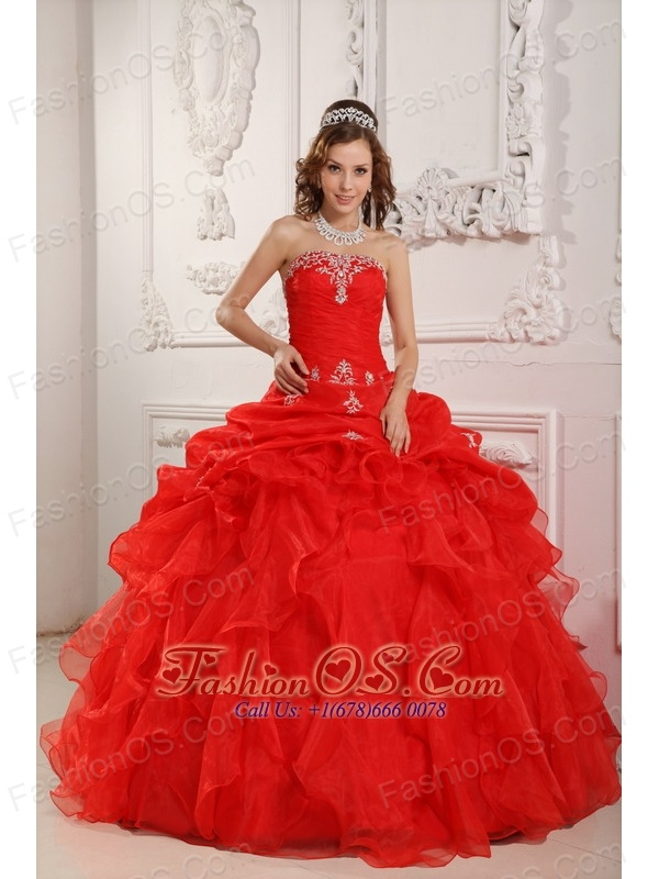Elegant Red Sweet 16 Dress Strapless Organza Beading And