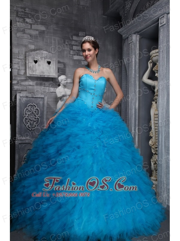 Exclusive  Baby Blue Quinceanera Dress Sweetheart Taffeta and Organza Beading Ball Gown