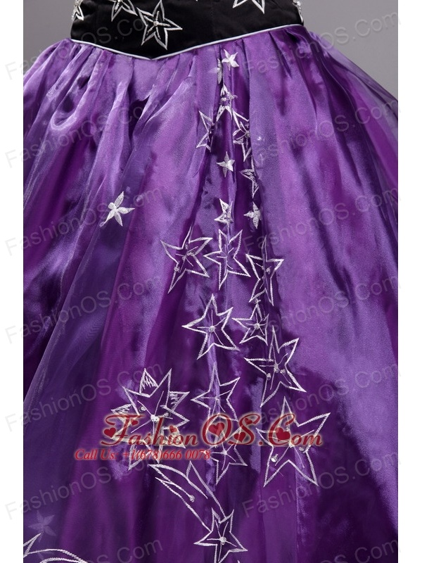 Exclusive Eggplant Purple Quinceanera Dress Sweetheart Orangza Embroidery Ball Gown