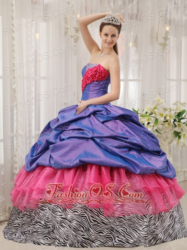 Exclusive Quinceanera Dress Taffeta and Zebra Strapless  Beading Ball Gown