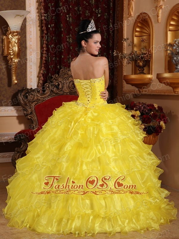 Exclusive Yellow Quinceanera Dress Strapless Organza Beading Ball Gown