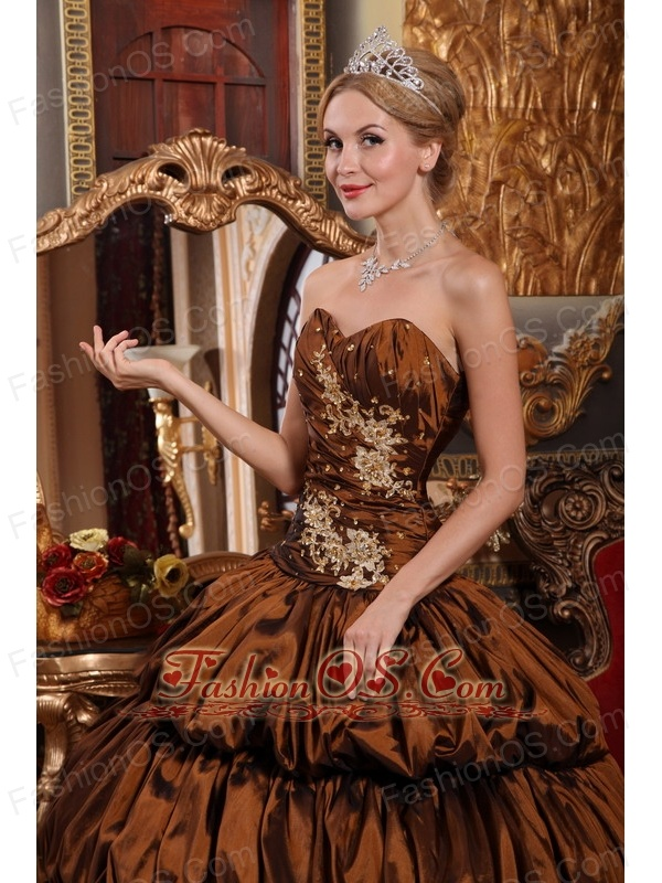 Exquisite Brown Quinceanera Dress Sweetheart Chapel Train Taffeta Appliques and Pick-ups Ball Gown