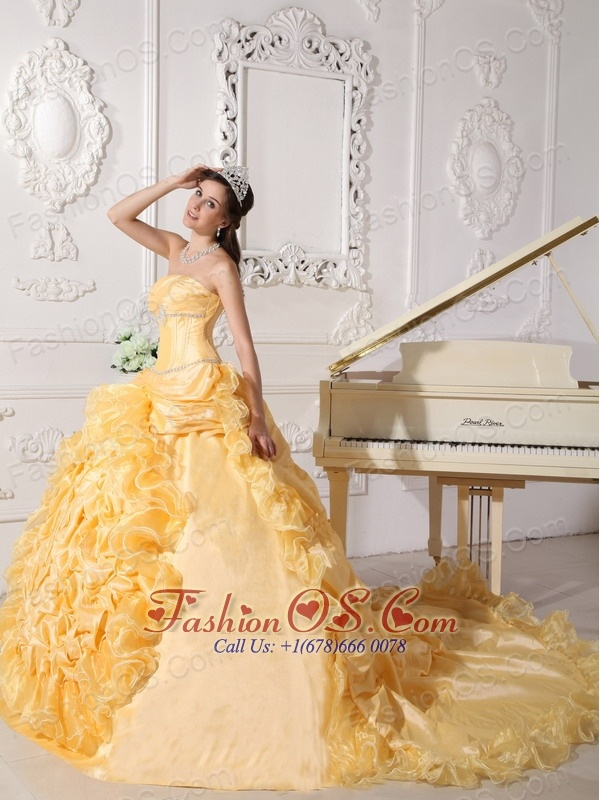 Exquisite Gold Quinceanera Dress Strapless Chapel Train Taffeta Beading Ball Gown