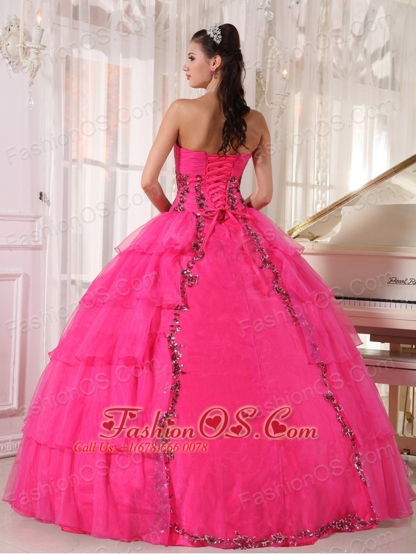 Fashionable Hot Pink Quinceanera Dress Sweetheart  Organza Paillette Ball Gown
