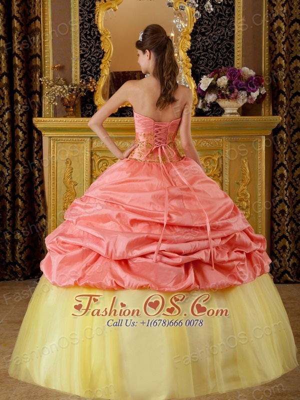 Fashionable Watermelon and Yellow Sweet 16 Dress Strapless Taffeta and Tulle Beading Ball Gown
